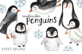 1802291 Watercolor Penguins Clipart 2205007 5