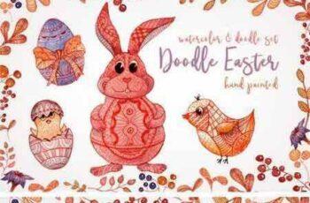 1803012 Doodle Easter Watercolor Set Clipart 2199993 4