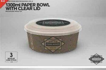 1803083 1300ml Paper Bowl Clear Lid MockUp 2181793 5
