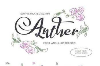 1803122 Anther Font + Free Illustration 2125576 5