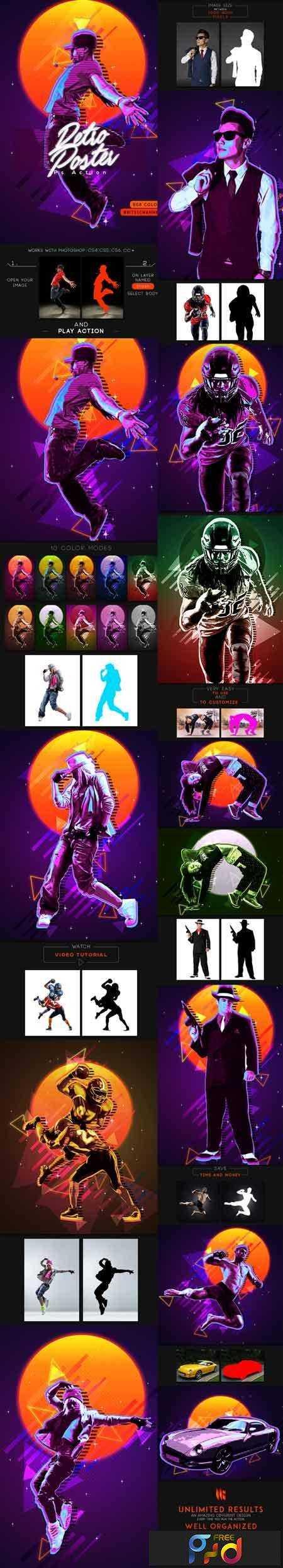 1803126 80s Retro Poster Photoshop Action 21362682 Freepsdvn