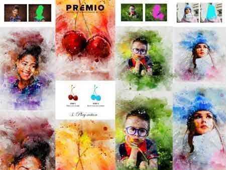1803180 Premio Watercolor Photoshop Action 21337741 - FreePSDvn