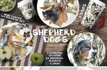 1803269 Shepherd dogs watercolor set 2203945 4