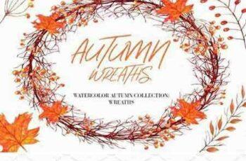 1803278 Watercolor Autumn Wreaths clipart 2203428 3