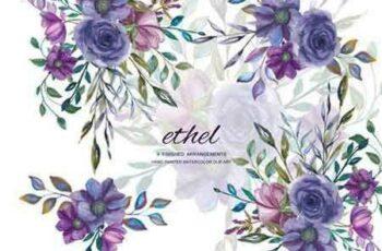 1803281 Watercolor Purple Floral Clip Art 1904554