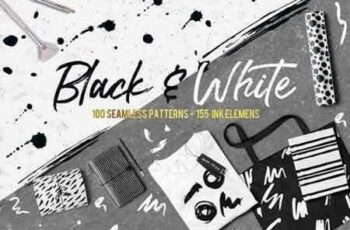 1803287 Black&White patterns + ink elements 2202155 14