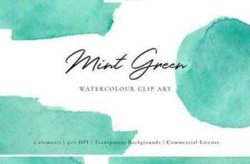 1804106 Mint Green Watercolour Clip Art 2232257 7