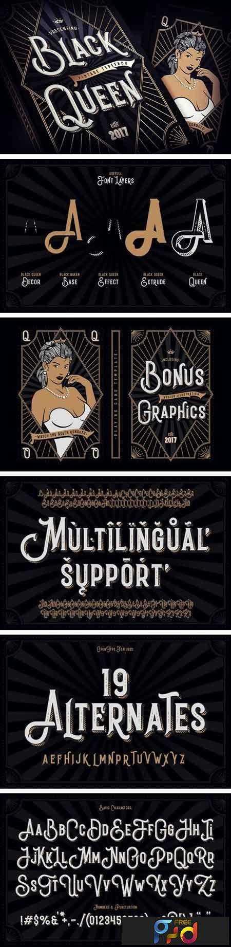 1804181 Black Queen font + bonus graphics 1980933 1
