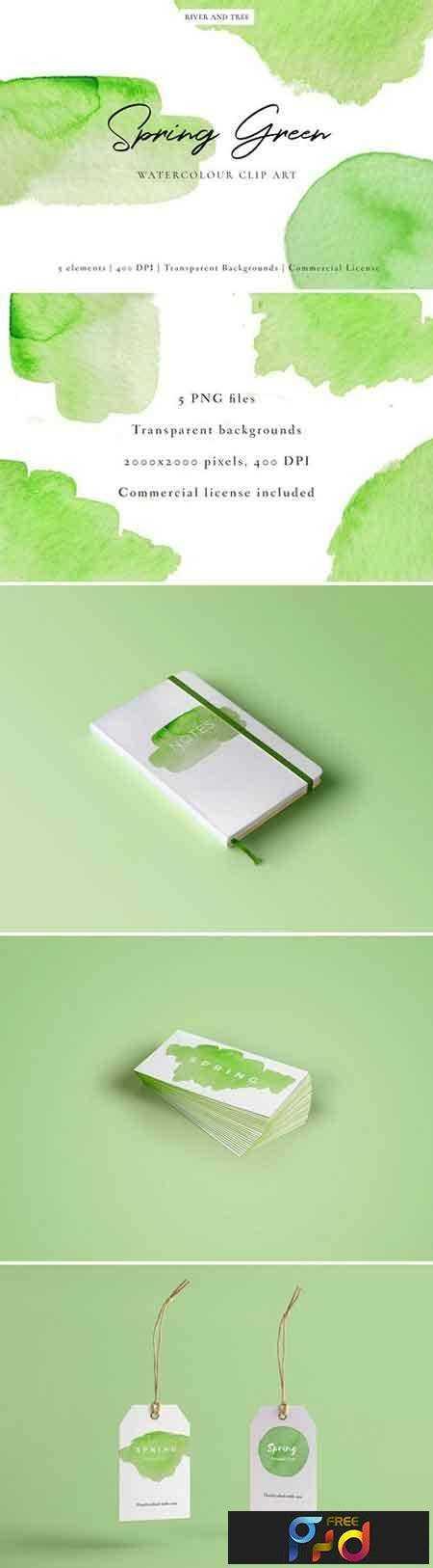 1804243 Spring Green Watercolour Clip Art 2232381 1