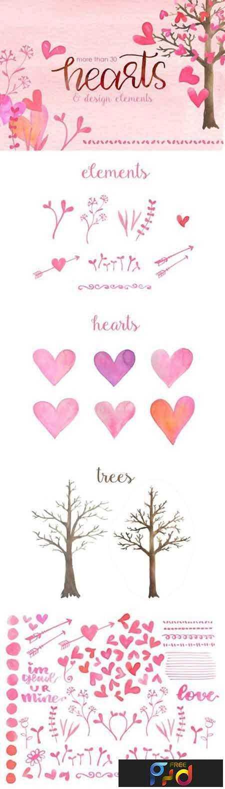 1804252 WaterColor Hearts & Design Elements 2231481 1