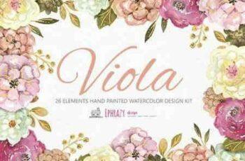 1805106 Viola Floral bundle Cliparts paper 2225736 4