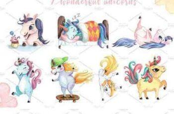 1805108 Watercolor Unicorn Clipart Set 2257703 7