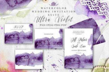 1805175 Ultra Violet Watercolor Wedding card 2254751 3