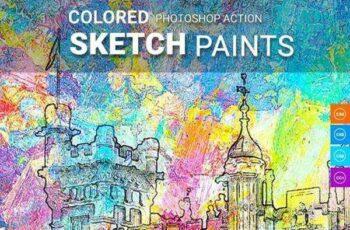1805195 Coloured Sketch Paints Photoshop Action 21667818 6