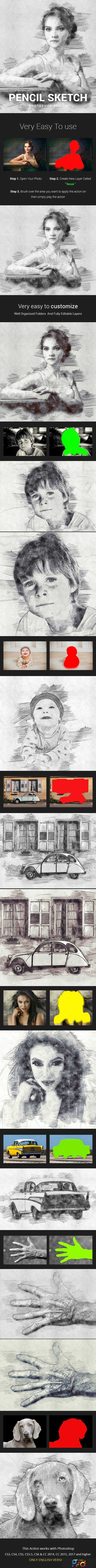 1805252 Pencil Sketch Photoshop Action Photo Effects