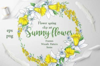 1805267 Sunny Flowers – spring clip art 2256120 3