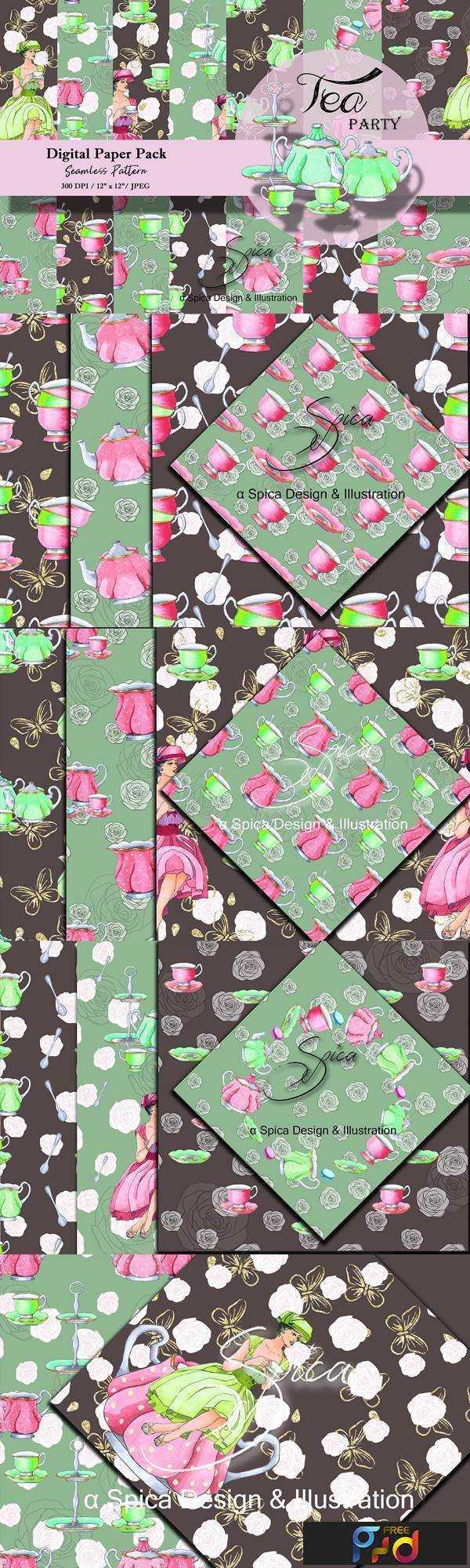 1806070 Tea party Digital paper pack 2458297 1