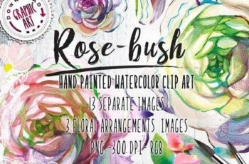 1806086 Watercolor Clipart; Rose Wreath 2391544 3