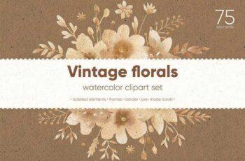 1806156 Vintage Florals Watercolor Cliparts 2422632 6