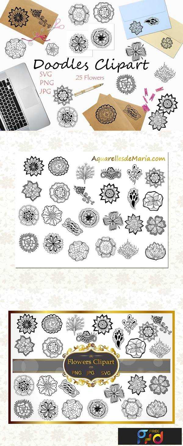 1806166 Black Flowers Clipart Collection 2487587 1