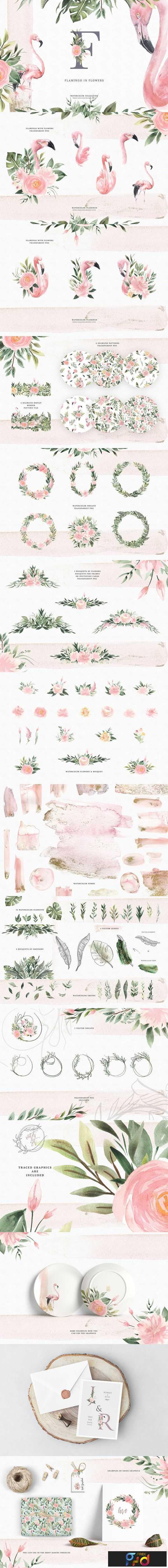 1806277 Watercolor Flamingo & Flowers 2511087 1