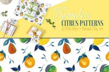 1807013 Seamless Citrus Patterns + Clip Art 2517847 5