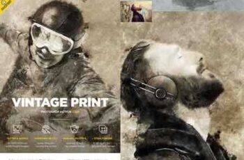 1807047 Vintage Print CS4+ Photoshop Action 22003116 2