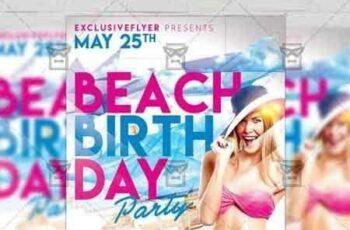 1807155 Birthday On The Beach – Club A5 Flyer Template 5