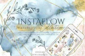 1807214 Instaflow Watercolors & Across the Grid Template 3462410 3
