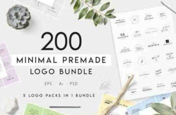 1808273 200 Minimal Premade Logo Bundle 3469727