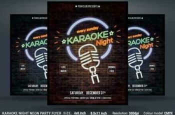 1808287 Karaoke Night Neon Party Flyer 3470746 6