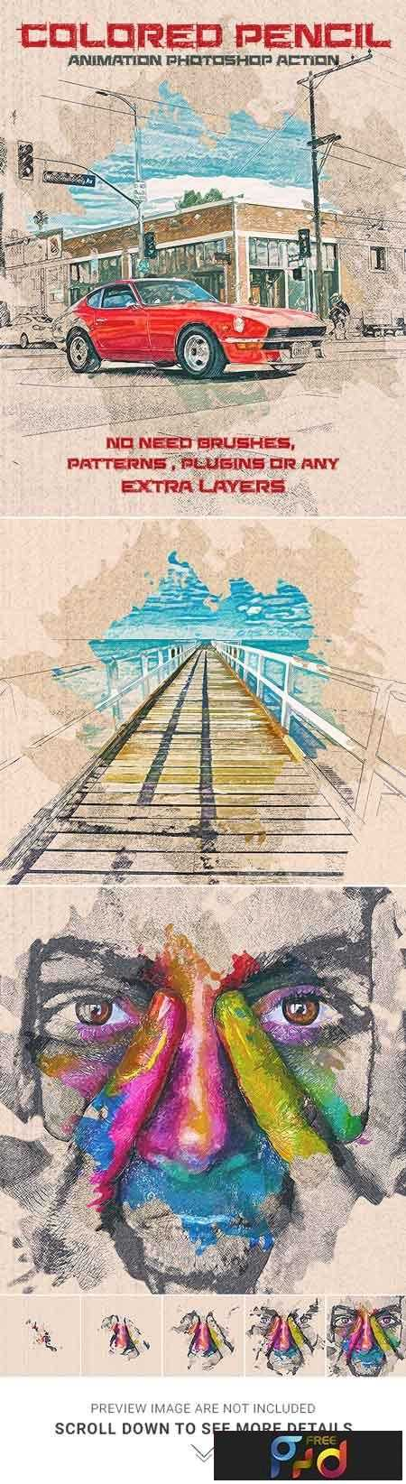 1808290 Colored Pencil Animation Photoshop Action 22139552