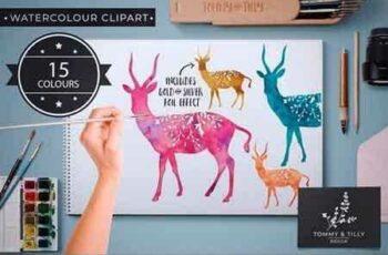 1809066 Antelope - 15 Watercolour & Foil PNG 2544569