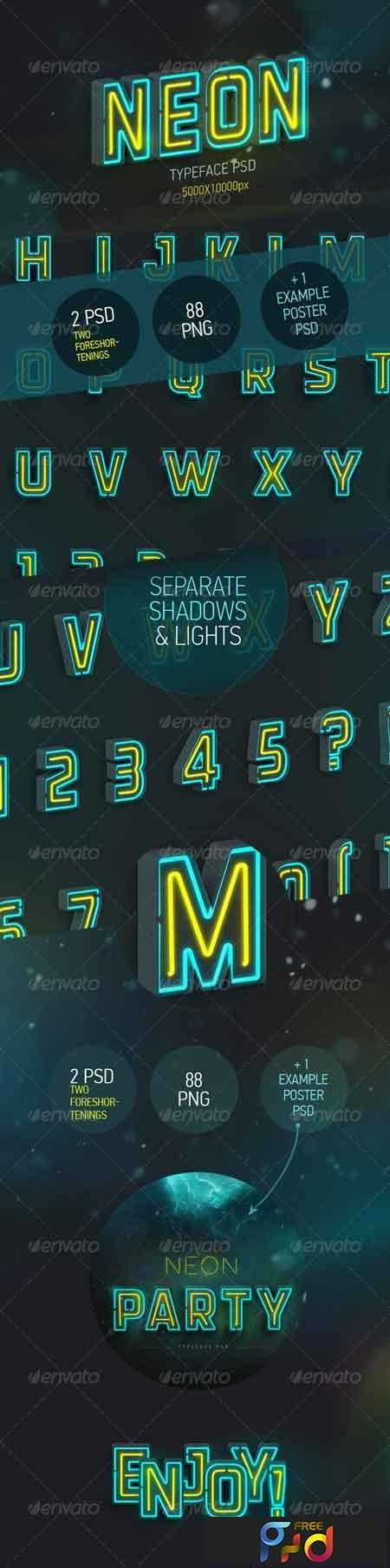 1809226 Neon Typeface (3 PSD, 88 PNG) 7789963 1