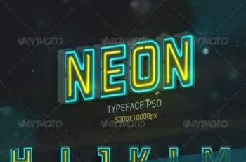 1809226 Neon Typeface (3 PSD, 88 PNG) 7789963 7