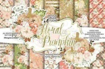 1809231 Floral Pumpkin digital paper pack 2815351 4