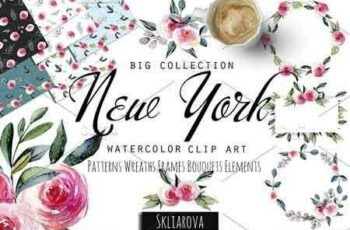 1810005 New York Roses watercolor clipart 2695419 7