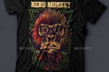 1810119 Nerd Monkey T-Shirt Design 16594136 5