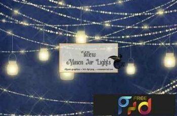 1811014 Yellow Mason Jar Lights 1669783 2