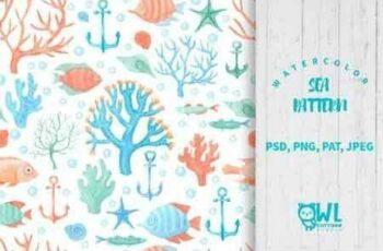1811038 Sea Life Watercolor Seamless Pattern 36909 3