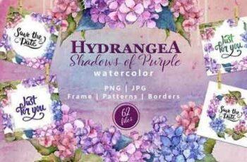 1811281 Hydrangea PNG watercolor flower set 2264987 5