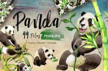 1811284 Panda wild animal PNG watercolor set 2097045 2