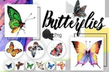 1811296 Watercolor butterflies, eps and png 1616479 5