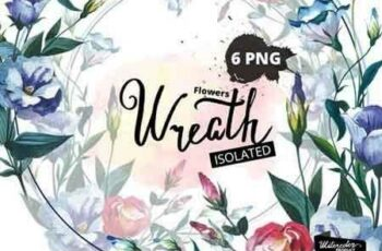 1811297 Watercolor Flower Wreath PNG set 1010066 5