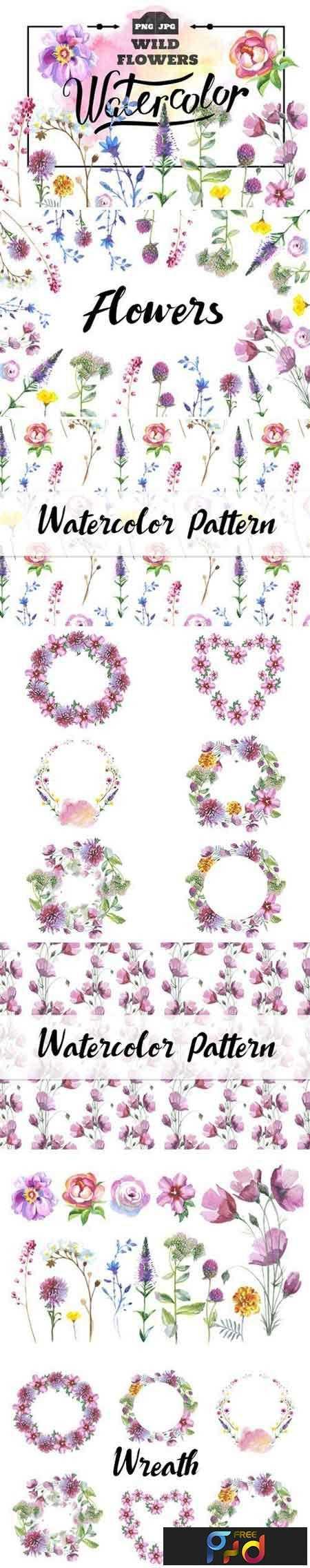 1811299 Wild Flowers watercolor PNG set 932555 1