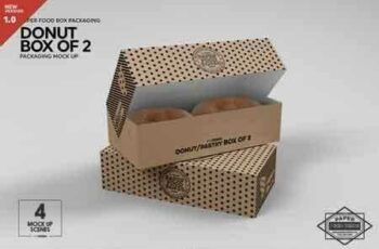 1812179 Box of Two Donut Pastry Box Mockup 3485014 3