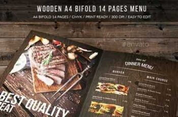 1812225 Wooden A4 Bifold 14 Pages Menu 17415665 4
