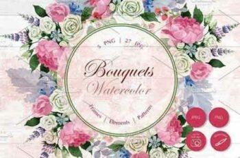 1812275 Wedding watercolor bouquets PNG set 2896357 2