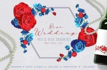 1812307 Rose Wedding Red and Blue Design Set 2897785 2