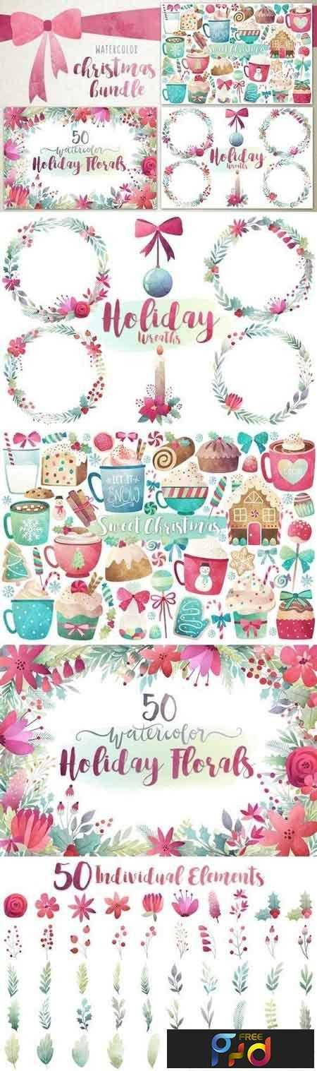 Watercolor Christmas Bundle 1058759 1